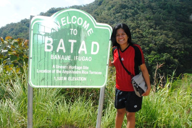 A friend of mine at the welcome post of Batad.