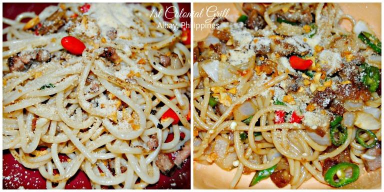 Pasta Bicolana and Sisig Pasta. Both literally flaming spicy!